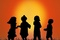 Children silhouette at sunset sjpg142