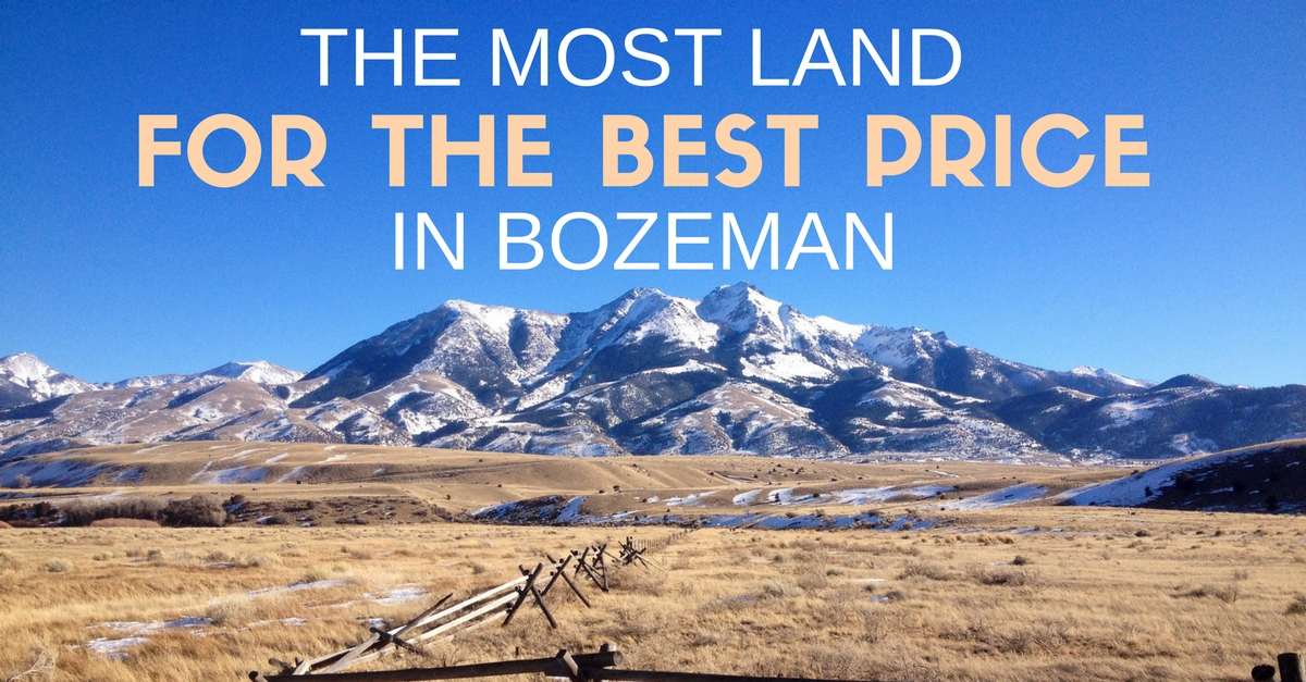 The most land for the best price in bozeman for Cost to build a house in bozeman mt