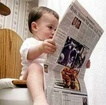Baby toilet reading newspaper 285x283