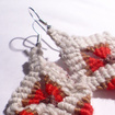 Cotton wool macrame red brown cream earrings by rebeljewel handmade 1