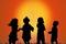 Children silhouette at sunset sjpg142