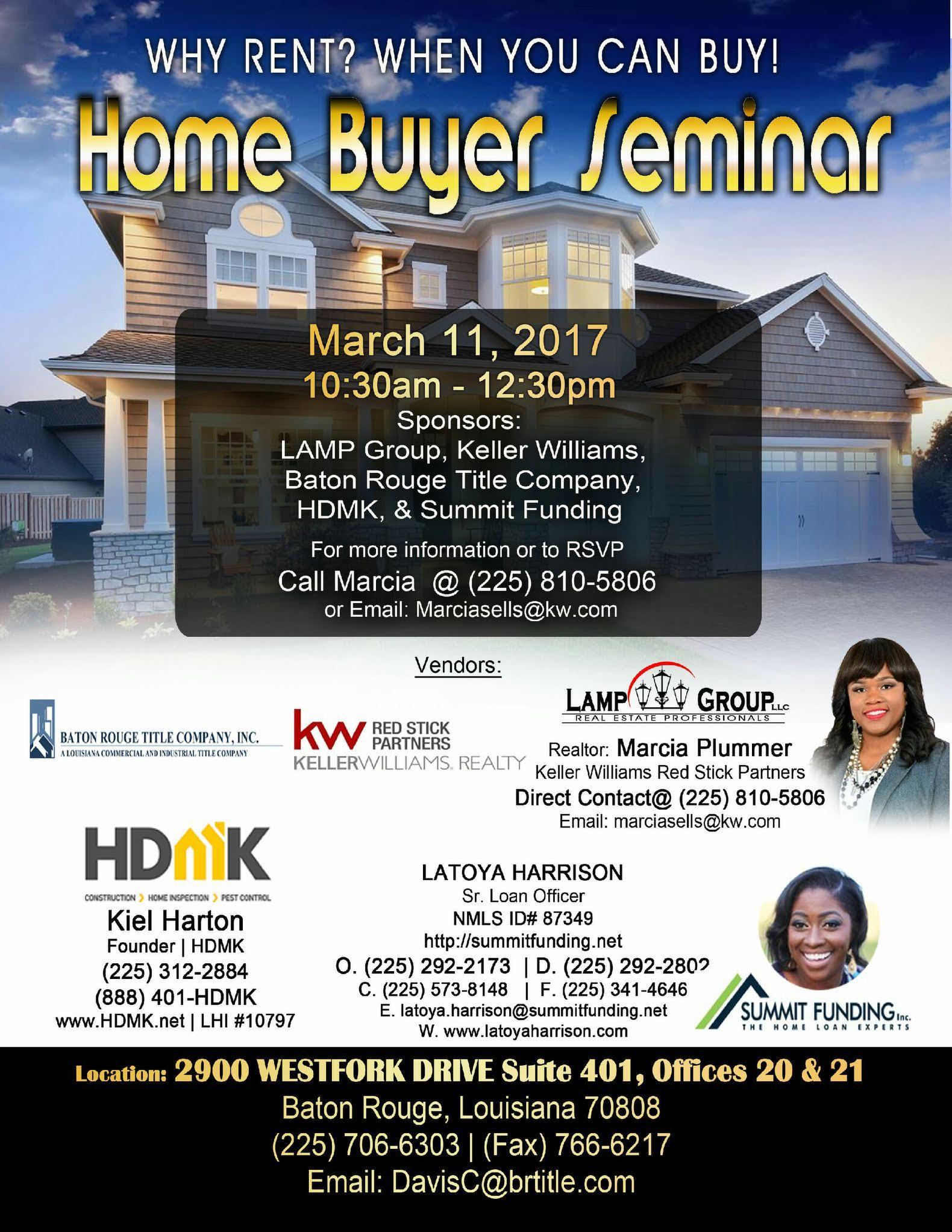 why rent when you can own free home buyer seminar
