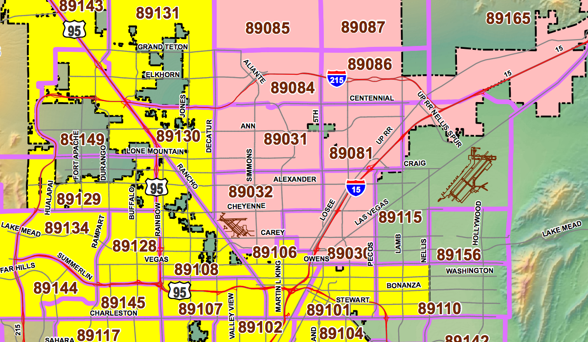 Las Vegas Area Code Map Las Vegas Zip Codes   Zip Code Maps Las Vegas Area Code Map