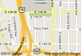 Google map of Tracy Park in midtown Tulsa OK