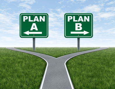 Road signs pointing in opposite directions that read Plan A and Plan B