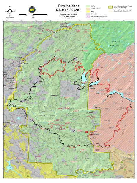 Rim Fire perimeter map Sept 3