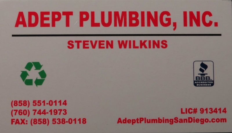 Adept Plumbing A Winner From Start To Finish In The Carlsbad Area