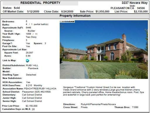 What did 3237 Novara Way in Ruby Hill sell for?