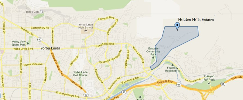 Map showing the location of Hidden Hills Estates in Yorba Linda CA