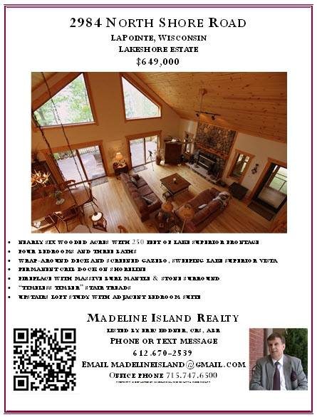 QR Code embedded in real estate property flyer - image by Madeline Island Realty LLC