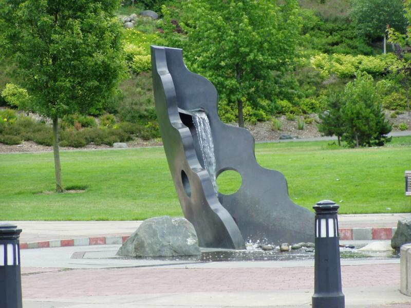 Sculptural fountain at entry to hillclimb to Whatcom Art Museum