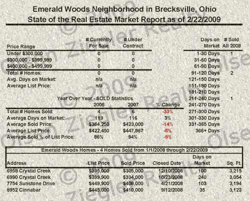 Emerald Woods Brecksville Ohio Real Estate Market Report February 2009