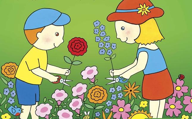 Illustration of Children in a Garden