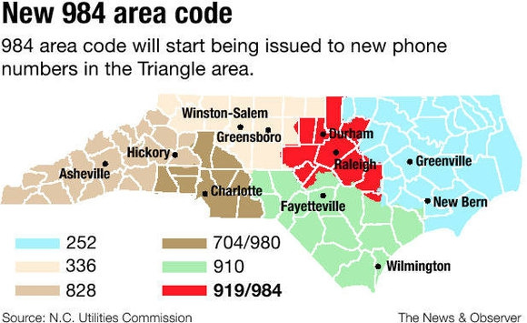 New Area Code For Raleigh And The Triangle Area Signs Of GROWTH - 252 area code