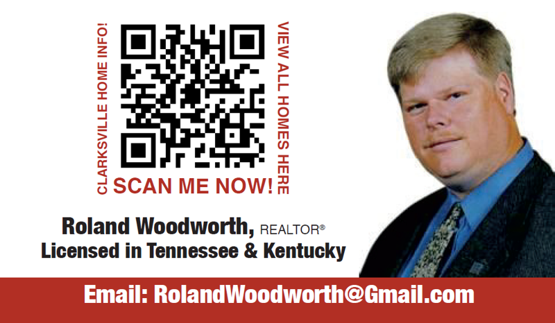 Roland Woodworth ~ Business Card Back ~ Clarksville Home Information