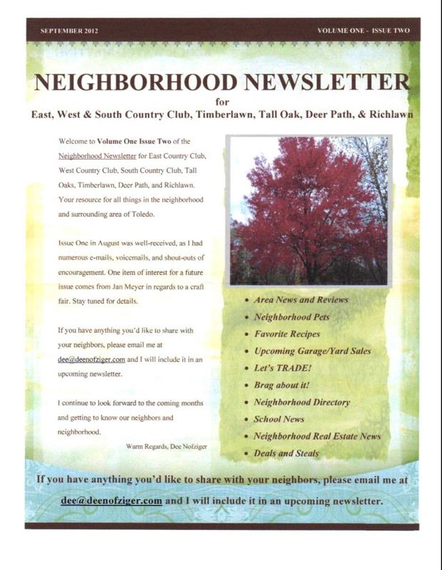 country club addition neighborhood newsletter for september 2012