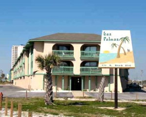 View of Las Palmas Condos from the Intersection of West Beach Blvd and Lagoon Ave