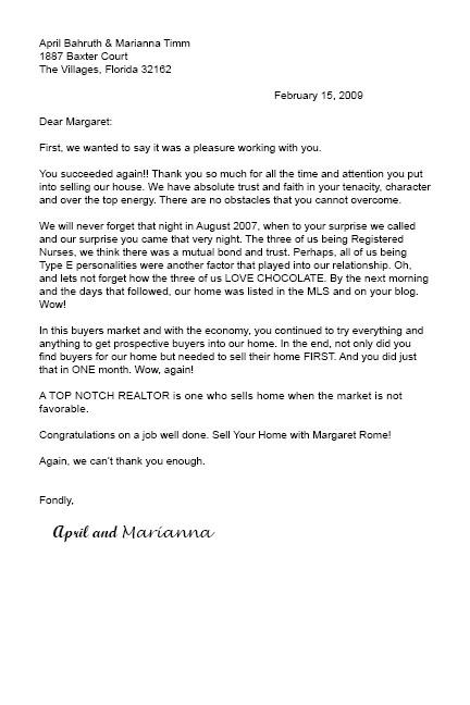 thank you letter to realtor Docoments Ojazlink