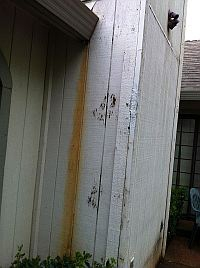 leaking gutter on siding