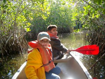 Rick & Ines's kids canoeing in the Everglades