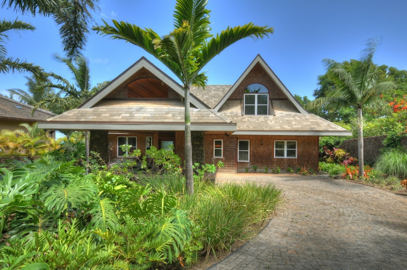 Front of main house at beautiful Kuau Oceanfront Property for Sale