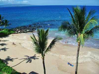 view from Polo Beach Club resort Wailea maui HI