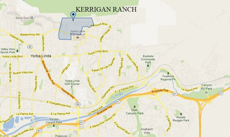 Map Showing Kerrigan Ranch in Yorba Linda CA