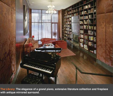 Library on the main level of the building with Piano bar