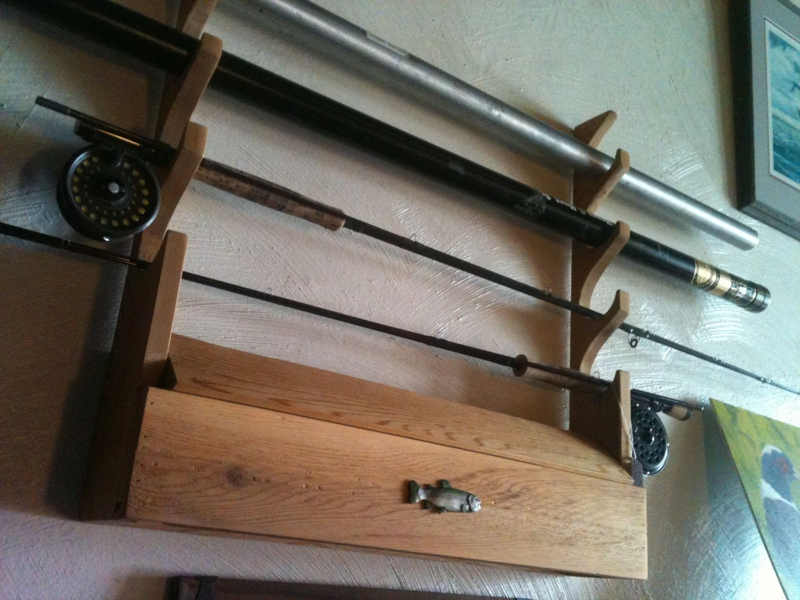 fly rod rack/reel storage compartment