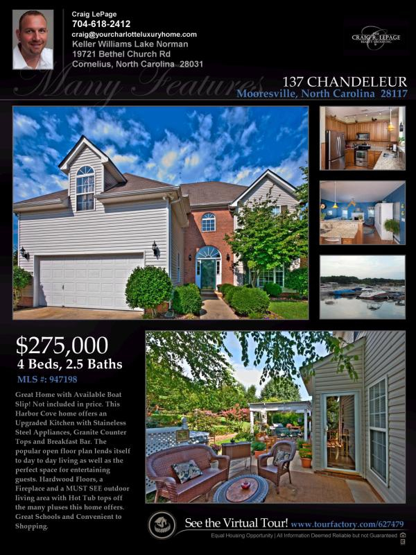 Great Mooresville Home with optional Boat Slip Available