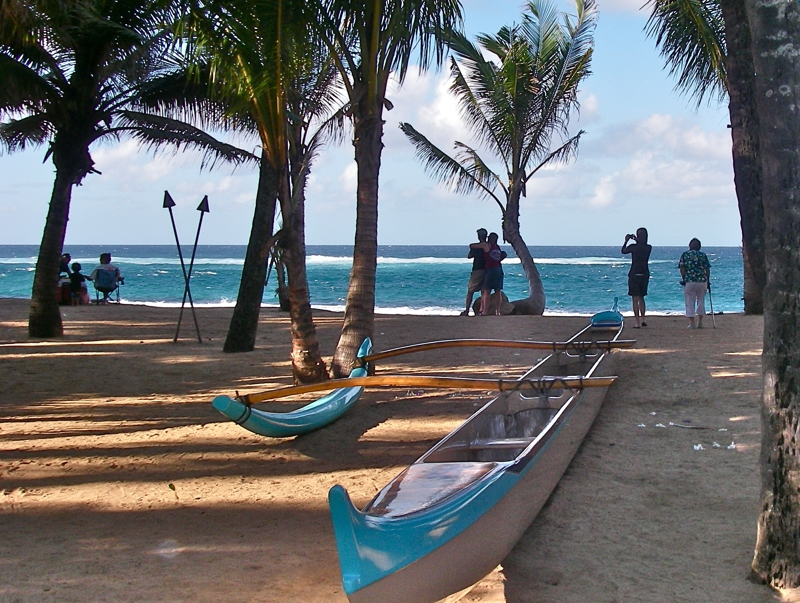 canoe on the beach at Mama's Fish House Restaurant - Kuau Paia Maui HI 96779