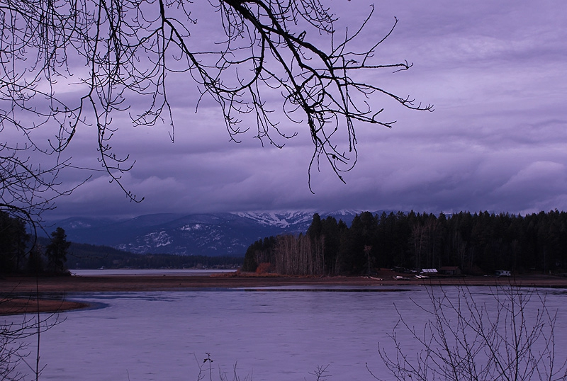 Schweitzer under the clouds as seen across Lake Pend Oreille from Sunnyside