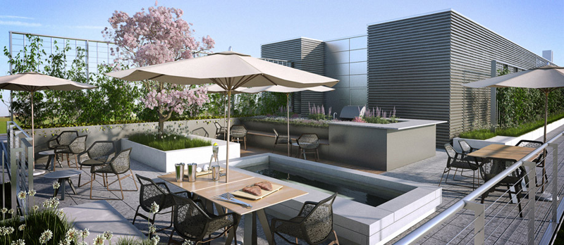 City Center DC Condos roofdeck rendering