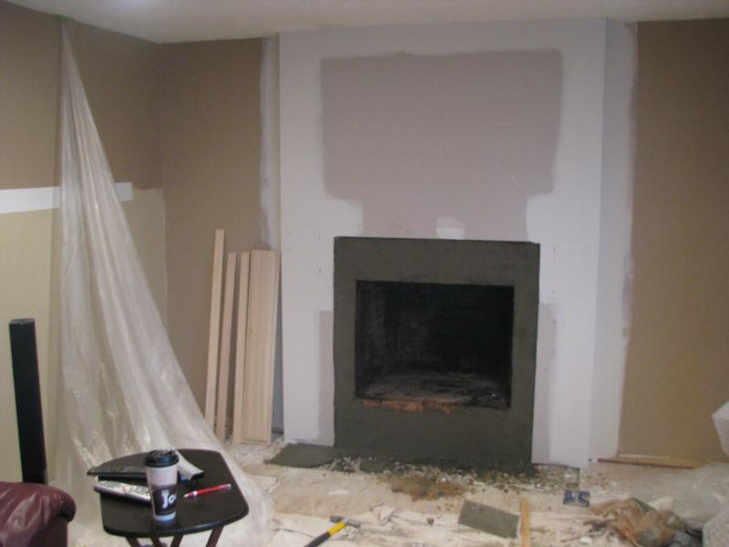 Before and after fireplace photos add space and value to - Covering brick fireplace with tile ...