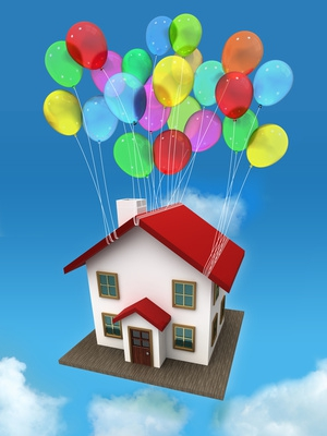 House Rising Into the Sky, Attached to Balloons