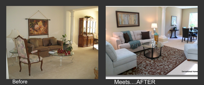Before meets after home staging living room for Home staging before and after