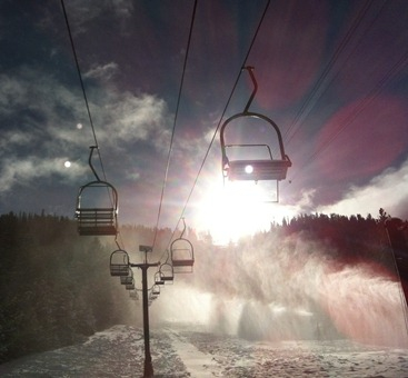 heavenly ski resort, lift chairs, snow, slope, mountain, blue sky, ski, snowboard