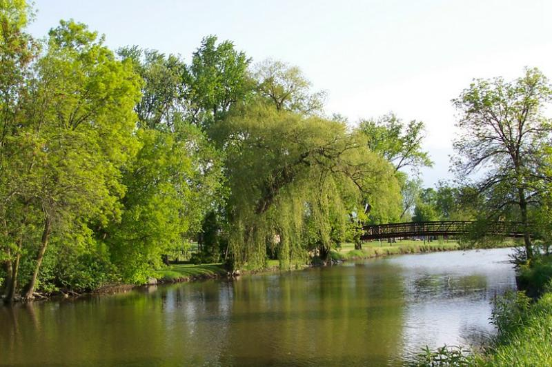 The Beautiful Frame Park on the Fox River in Waukesha ,Waukesha County
