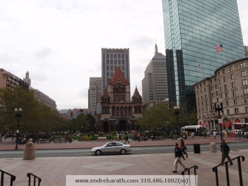 views of copley square from the Boston Public Library