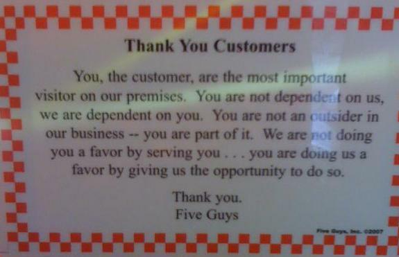 Five Guys Customer Creed