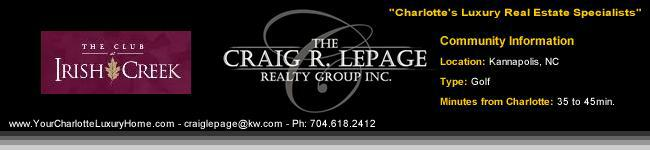 The Club at Irish Creek / Kannapolis NC / Charlotte Luxury Real Estate / Golf Course Communities / Luxury Homes
