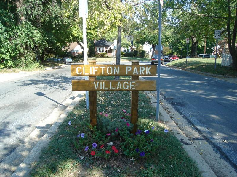 Entrance to Clifton Park Village Silver Spring Md