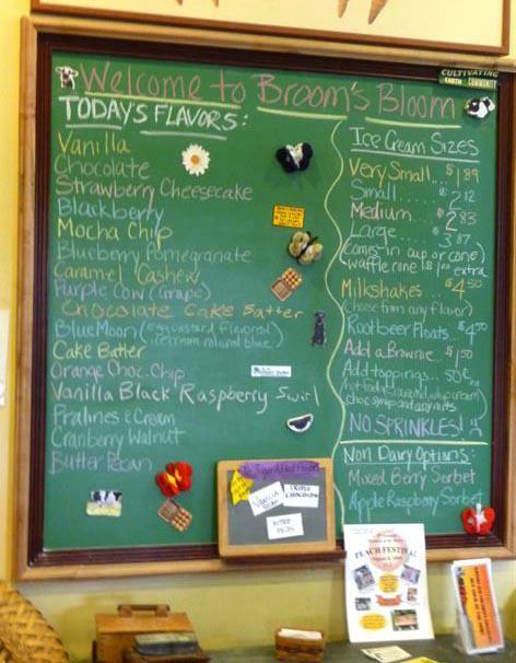 Ice cream flavors sign board