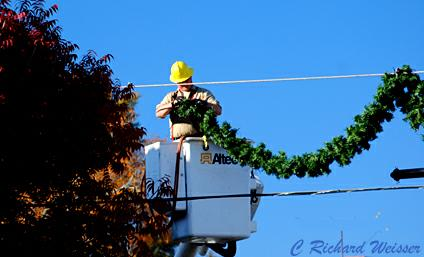 Installing Christmas decorations in Newnan GA
