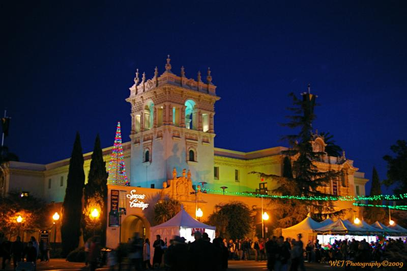 with christmas lights all a glow throughout balboa park they seem to summon all for a marvelous christmas celebration the museums throughout the park are - Balboa Park Christmas Lights