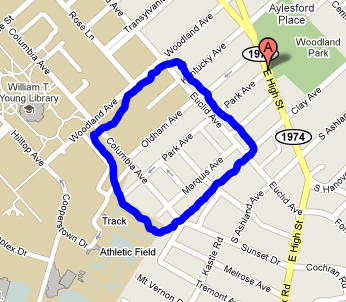 Map of the general area of Columbia Heights very near the University of Kentucky