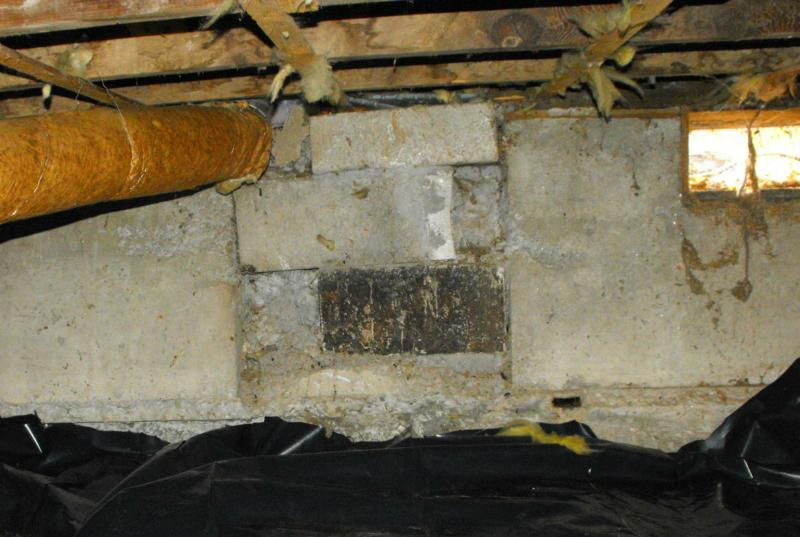 Beam pocket of house that was relocated