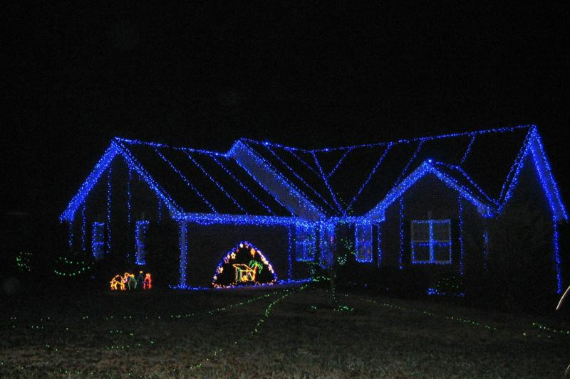 the blue light house christmas lights by diane boykin - Light Blue Christmas Lights