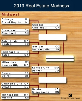 The bracket for the Midwest region in Real Estate Madness, our version of the March Madness tournament