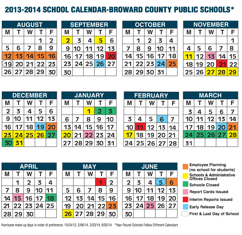 Broward County School Calendar For 2013 14